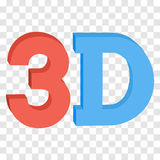 3D three-dimensional button sign in solid red and blue colors. Icon isolated on transparent background. Vector illustration Stock Photography
