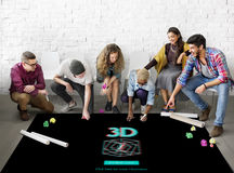 3D Three Dimensional Futuristic Display Modern Concept Stock Photo
