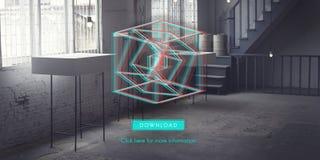 3D Three Dimensional Futuristic Display Modern Concept Stock Image