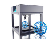 3D Three dimensional printer. 3D Illustration. Three dimensional printer. New technology concept. Isolated white background Stock Photography