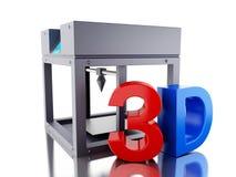 3D Three dimensional printer. 3D Illustration. Three dimensional printer. New technology concept. Isolated white background Stock Photos