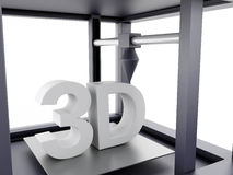 3D Three dimensional printer. 3D Illustration. Three dimensional printer. New technology concept. Isolated white background Royalty Free Stock Photography