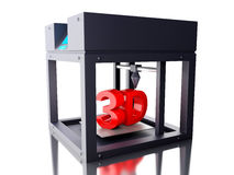 3D Three dimensional printer. 3D Illustration. Three dimensional printer. New technology concept. Isolated white background Stock Photo