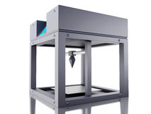 3D Three dimensional printer. 3D Illustration. Three dimensional printer. New technology concept. Isolated white background Stock Images