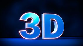 3D three-dimensional word with glowing letters. Royalty Free Stock Image