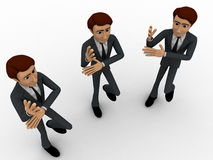3d three men dancing in rythem concept Royalty Free Stock Image
