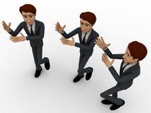 3d three men dancing in rythem concept Stock Image