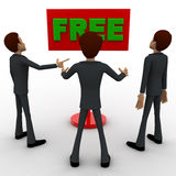 3d three men looking at FREE red sign board concept Stock Images