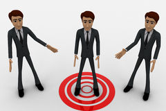 3d three men and one man standing on target concept Stock Photography