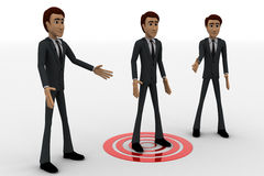 3d three men and one man standing on target concept Stock Photos