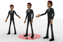 3d three men and one man standing on target concept Royalty Free Stock Image