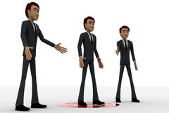 3d three men and one man standing on target concept Stock Photo