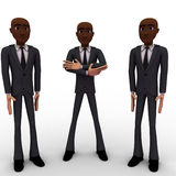 3d three men team standing with proud concept Stock Images