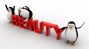 3d three penguins with beauty text concept Royalty Free Stock Images