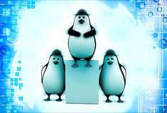 3d three penguins civil construction engineer working as team illustration Royalty Free Stock Image