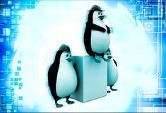 3d three penguins civil construction engineer working as team illustration Stock Photos