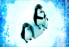 3d three penguins civil construction engineer working as team illustration Royalty Free Stock Photography