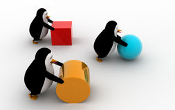 3d three penguins pushing and rolling cube, sphere and cylinder concept Royalty Free Stock Photo