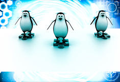 3d three penguins standing puzzle pieces and running for race illustration Stock Photos