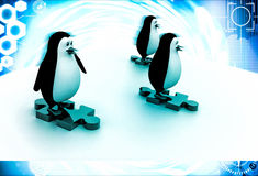 3d three penguins standing puzzle pieces and running for race illustration Stock Photo