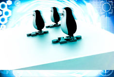 3d three penguins standing puzzle pieces and running for race illustration Royalty Free Stock Photography