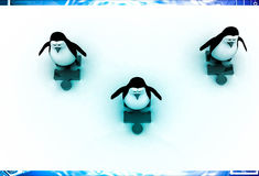 3d three penguins standing puzzle pieces and running for race illustration Royalty Free Stock Image