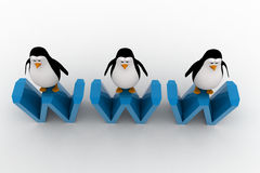 3d three penguins standing on WWW text concept Stock Photo