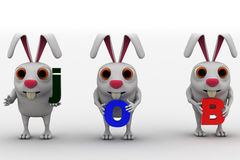 3d three rabbit holding job text in hand concept Stock Photography