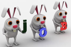 3d three rabbit holding job text in hand concept Stock Images