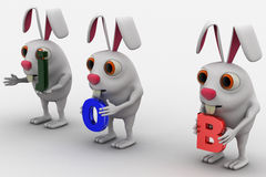 3d three rabbit holding job text in hand concept Royalty Free Stock Photos