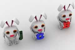 3d three rabbit holding job text in hand concept Royalty Free Stock Image