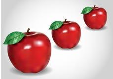 3d three red apple Stock Photo