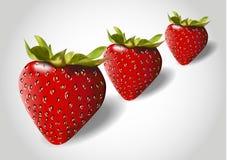 3d three red strawberry Stock Photo