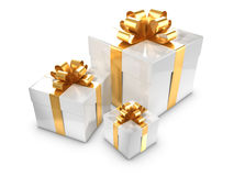 3d Three white and gold gift boxes Royalty Free Stock Photography