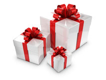 3d Three white and red gift boxes Stock Photography