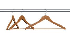 3d three wooden cloth hanger Royalty Free Stock Photo