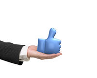 3D thumb up with man hand holding Stock Photo