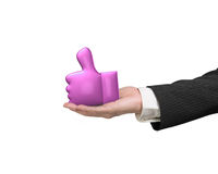 3D thumb up with man hand holding Royalty Free Stock Photos
