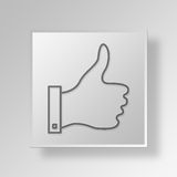 3D thump up icon Business Concept. 3D Symbol Gray Square thump up icon Business Concept royalty free illustration