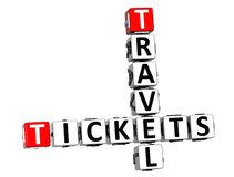 3D Tickets Travel Crossword on white background Stock Photography