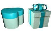 3d tiffany颜色心形礼物盒的例证 免版税库存照片