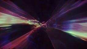 3D in tijd en ruimte teruggevend de vlucht aan een andere afmeting door een wormhole Heldere, high-energy en high-tech tunnel Royalty-vrije Stock Foto