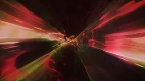 3D in tijd en ruimte teruggevend de vlucht aan een andere afmeting door een wormhole Heldere, high-energy en high-tech tunnel Stock Afbeeldingen