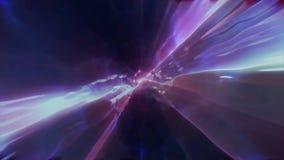 3D in tijd en ruimte teruggevend de vlucht aan een andere afmeting door een wormhole Heldere, high-energy en high-tech tunnel Stock Afbeelding