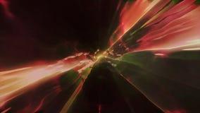 3D in tijd en ruimte teruggevend de vlucht aan een andere afmeting door een wormhole Heldere, high-energy en high-tech tunnel Stock Foto's