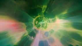 3D in tijd en ruimte teruggevend de vlucht aan een andere afmeting door een wormhole Heldere, high-energy en high-tech tunnel Stock Fotografie