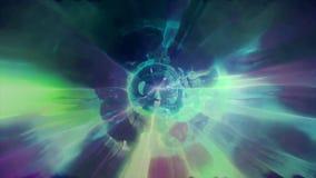3D in tijd en ruimte teruggevend de vlucht aan een andere afmeting door een wormhole Heldere, high-energy en high-tech tunnel Royalty-vrije Stock Foto's