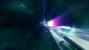 3D in tijd en ruimte teruggevend de vlucht aan een andere afmeting door een wormhole Heldere, high-energy en high-tech tunnel Stock Foto