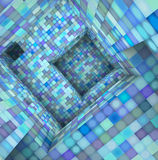 3d  tile mosaic labyrinth interior in blue Royalty Free Stock Photos