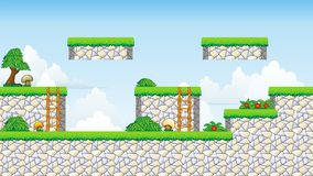 2D Tileset Platform Game. Tile set Platform for Game - A set of vector game asset, contains ground tiles Stock Photos